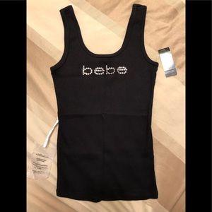 NWT! Bebe logo rhinestone ribbed tank top